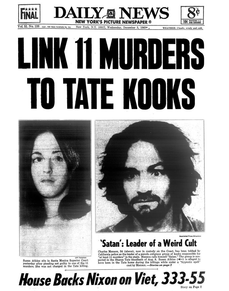"""The Dec. 3, 1969 cover of the Daily News covered the story of Charles Manson being pinned to the Sharon Tate murders. Originally described as a """"leader of a weird cult,"""" Manson was taken into custody and linked to 11 murder in California, including Tate. Susan Atkins is alleged to have been in the Tate house during the killings while under a """"hypnotic spell"""" cast by Manson. Susan Atkins sits in Santa Monica Supreme Court yesterday after pleading not guilty to one of the 11..."""