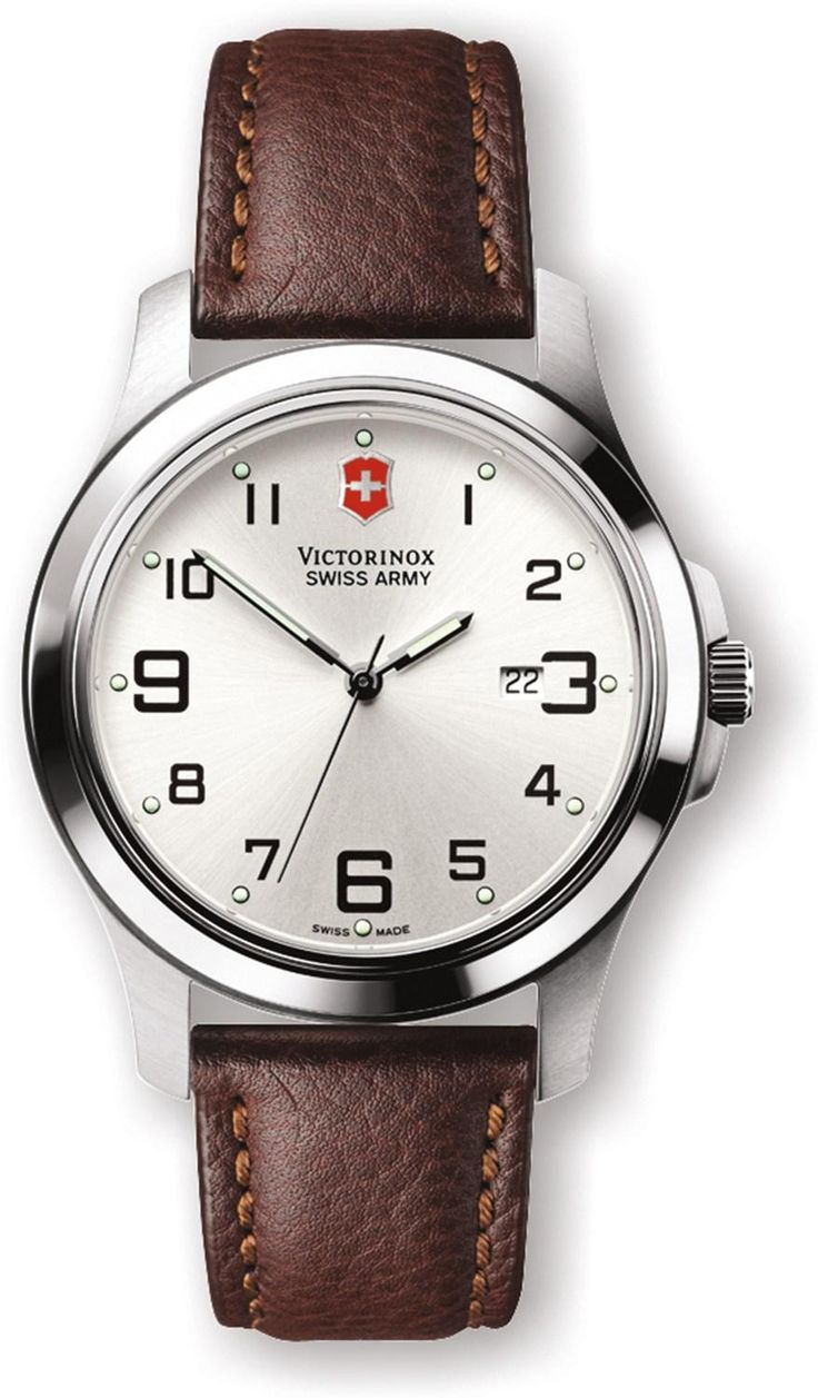 Precise timekeeping with a clean design—Men's Swiss Army Garrison Elegance Watch - Leather Band.