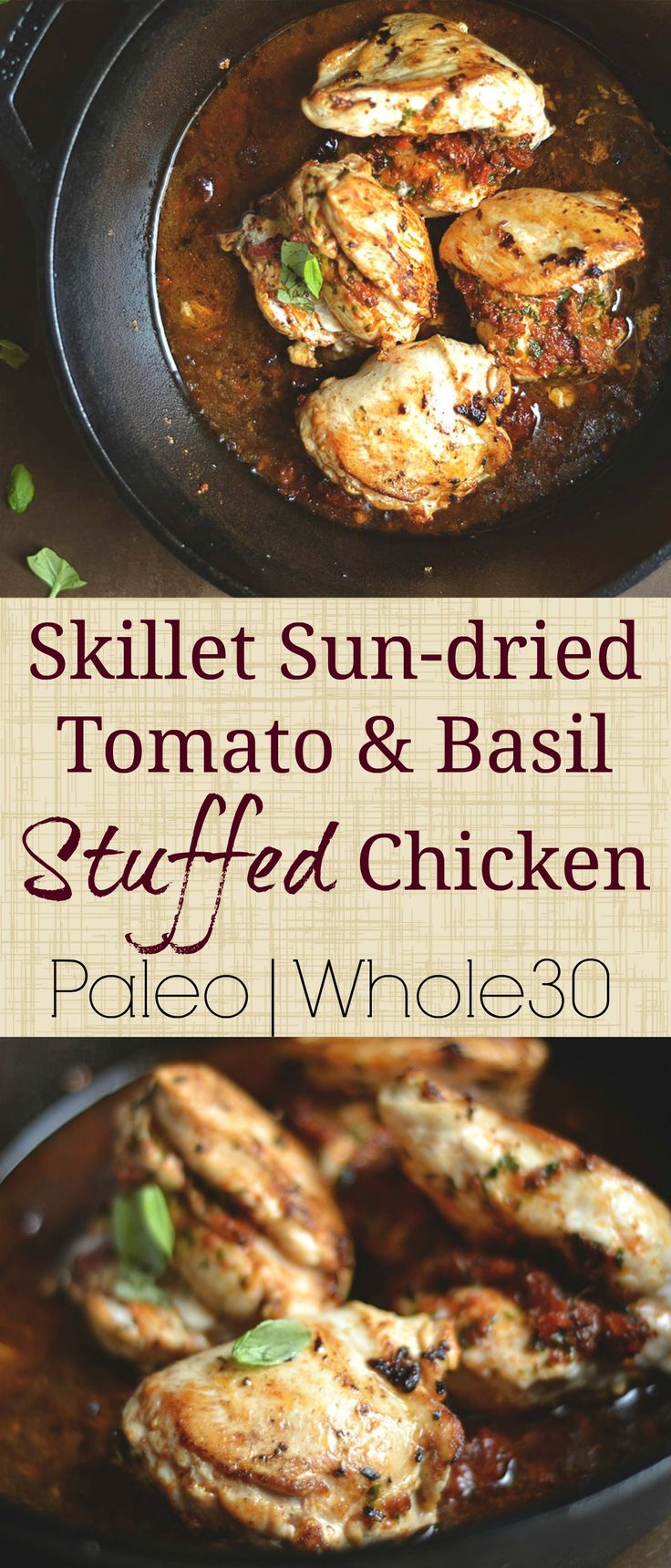 Simple weeknight chicken dinner stuffed a sun-dried tomato & basil paste and topped with the most delicious sauce!