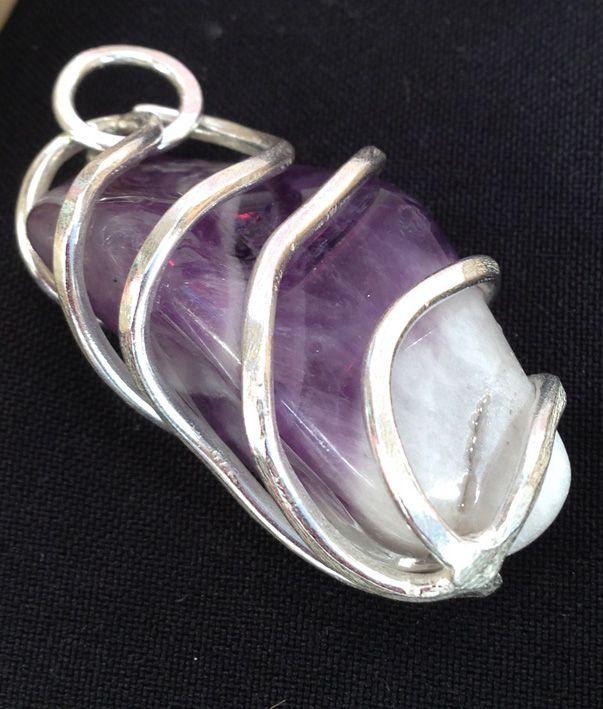 Semi precious stone wrapped in #vetroemetallo silver #handmade