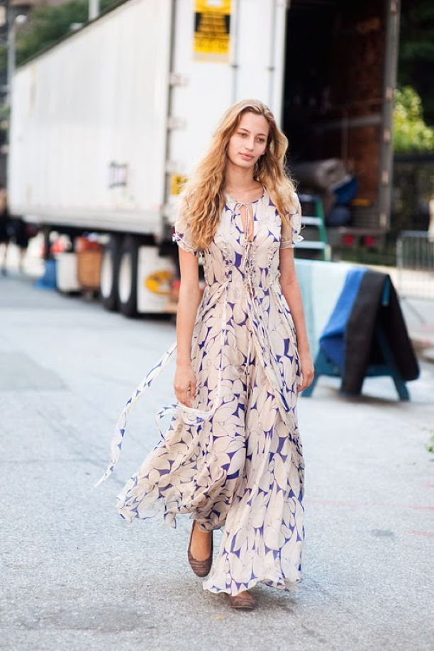 maxi dress and ballerina flats - I like this print