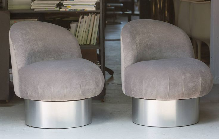 Milo Baughman Swivel Pouf Chairs 2