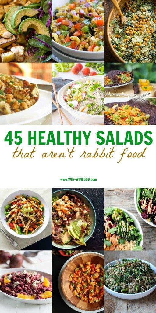 45 Healthy Salads That Aren't Rabbit Food | WIN-WINFOOD.com Upgrade your veggie bowls a bit so that they can make for a full meal. Here's all the inspiration you need! #vegan #healthy mostly #glutenfree
