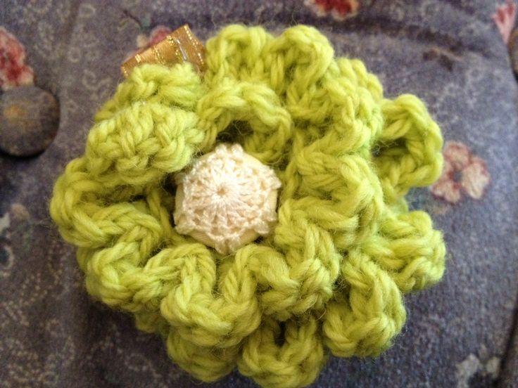 Crochet Green Hair : Handmade crochet green hair clip Hot glue gun