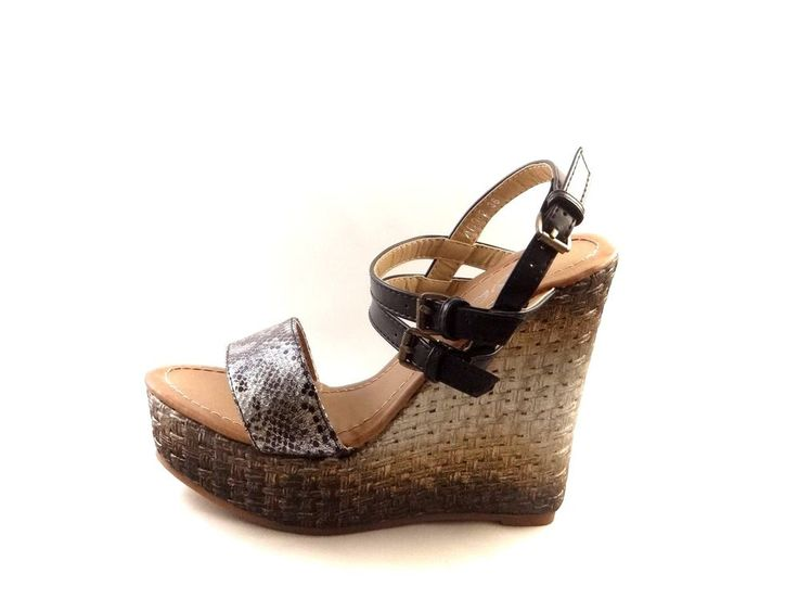 WOMEN'S LADIES STRAPPY PLATFORM VERY HIGH WEDGE HEEL SANDALS  BUCKLE SHOES SIZE