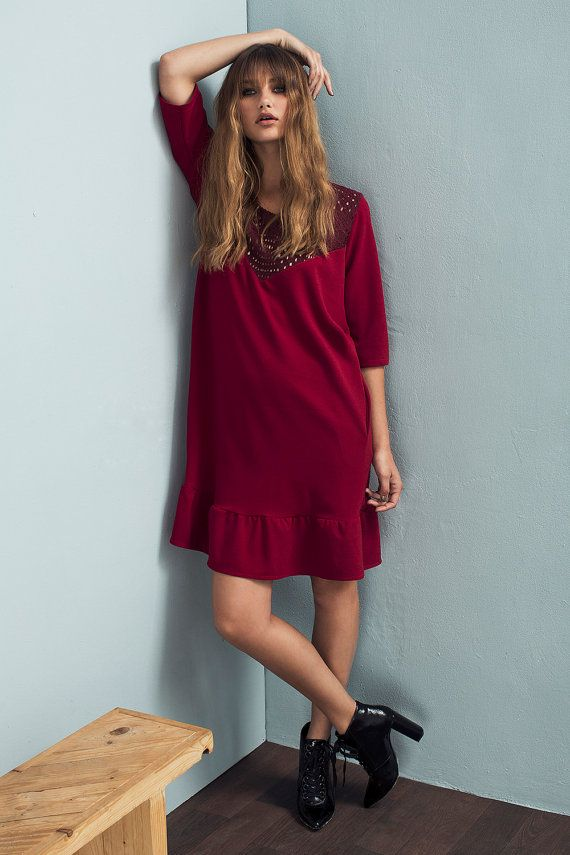 Red dress - Loose fit dress - Embroidered dress - Lace dress - Short sleeve…