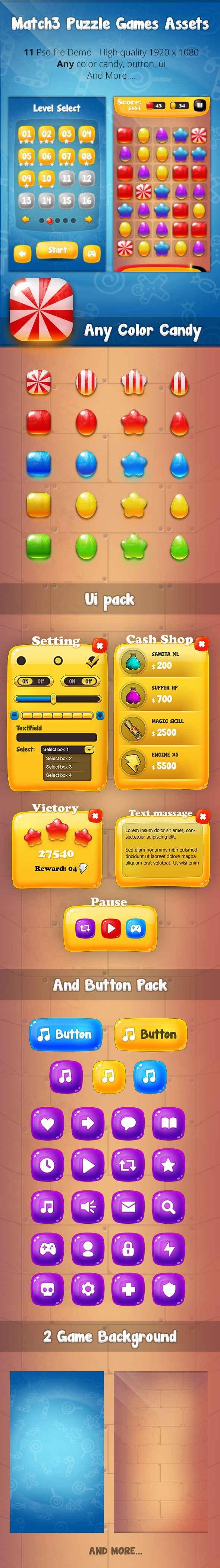 Match3 Puzzle Games Assets on Behance