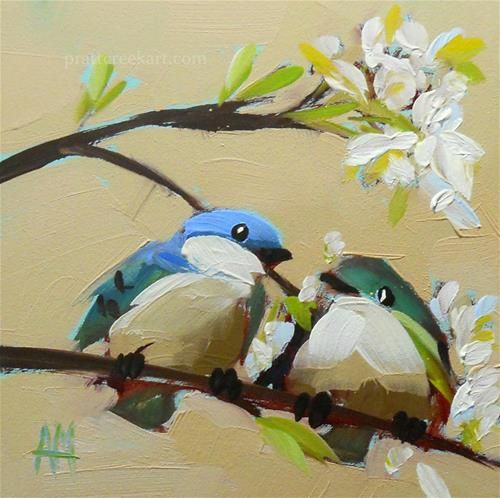 """Two Cerulean Warblers and Apple Blossoms Painting"" - Original Fine Art for Sale - © Angela Moulton"