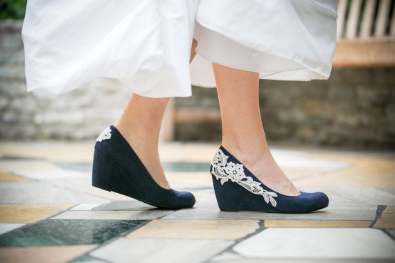 Wedding Shoes, Navy Blue Wedges, lace wedges, Navy Heels, something blue with by walkinonair, $83.00