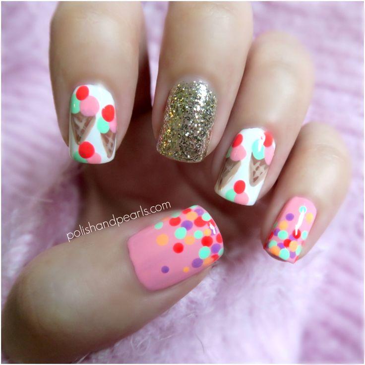Cream Nail Art: Ice Cream Cone Print Nails