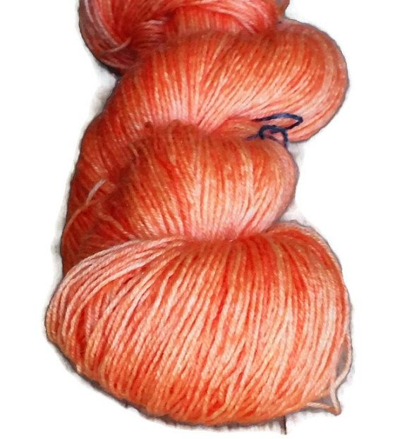 Peach Orange 3 Soft Superwash Handdyed Bluefaced Leicester - Wool Fingering Sock Weight Yarn 3-ply For Knitting and Crochet , EU Seller