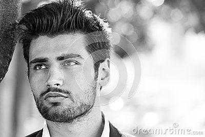 Handsome model man portrait. Hope. Black and white