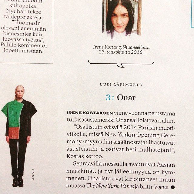 ONAR studios in Elle Finland July issue