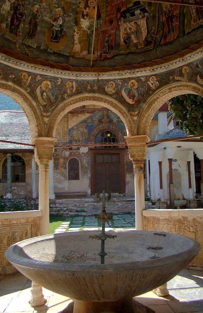 Fountain in courtyard of Great Lavra Monastery, Mount Athos, Greece   by Aleksandar Dekanski