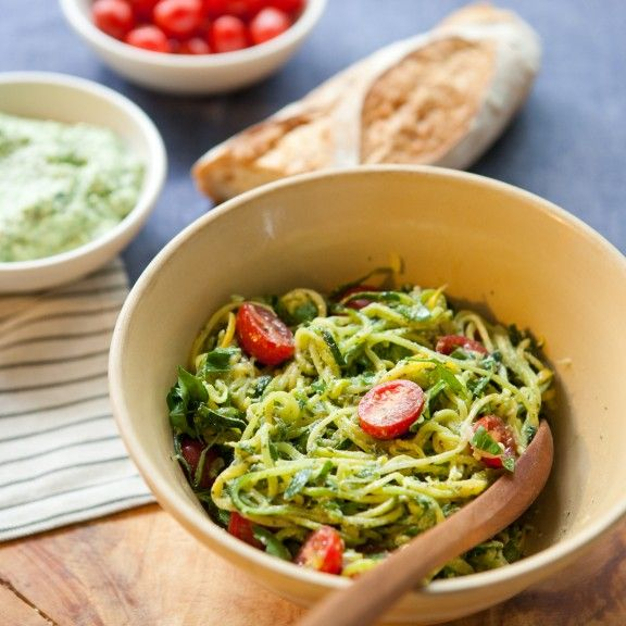 "Summer Squash Pasta with Ricotta Pesto and Tomatoes. Easy, effortless summer ""cooking."""