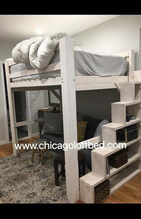 Queen Loft White Wash Shelf Steps Any Height Clearance Chicago