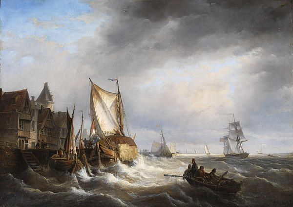 Harbor In A Stormy Sea Charles Leickert