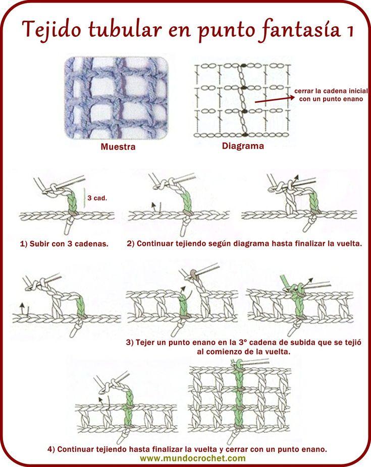 64-Tejido tubular punto fantasía1 ✿⊱╮Teresa Restegui http://www.pinterest.com/teretegui/✿⊱╮