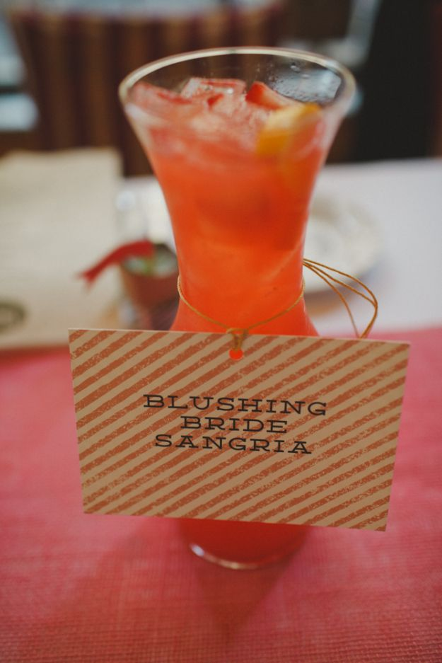 This may be my new favorite bridal shower cocktail: Blushing Bride Sangria!