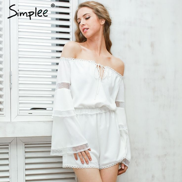 Aliexpress.com : Buy Simplee Sexy off shoulder hollow out jumpsuit romper Women elegant flare sleeve white overalls Casual ruffle summer playsuit from Reliable summer playsuit suppliers on Simplee Apparel