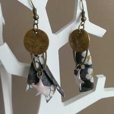 """Boucles d'oreilles """"alisé"""" bronze et tissu liberty"""