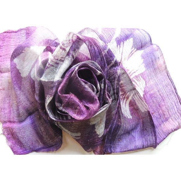Purple Silk Scarf Hand Dyed Handwoven Light Weight Batik Natural Pure Raw Silk Wedding Accessories Handmade Wedding Gift For Her (€15) found on Polyvore featuring women's fashion, accessories, scarves, pure silk scarves, purple scarves, purple shawl, purple silk scarves and silk scarves