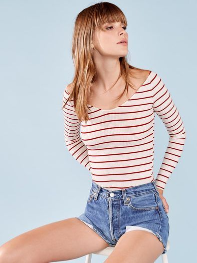 Show off those collarbones. This is an off-the-shoulder top with a tight fit and a slightly v neckline.