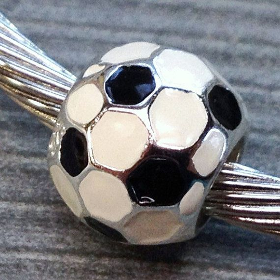Solid 925 Sterling silver white and black enamel soccer ball charm by Emmalishop
