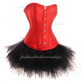 Cheap Sexy Steel Bones Breast Enhancement Sweetheart Red Corset Bustier Tops Dress