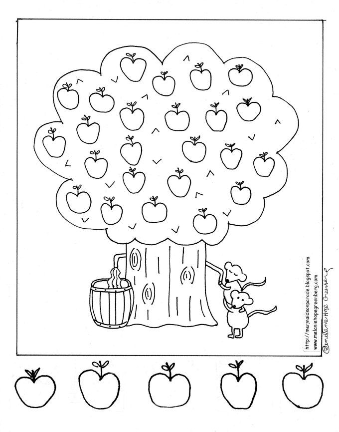 Apple Farm Coloring Pages : Apple orchard coloring page worm is coming out