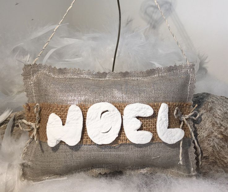"""Coussin lin NOEL """" fait main """"... : Accessoires de maison par mode2filles"""