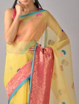 Yellow-Red Kora Silk Saree