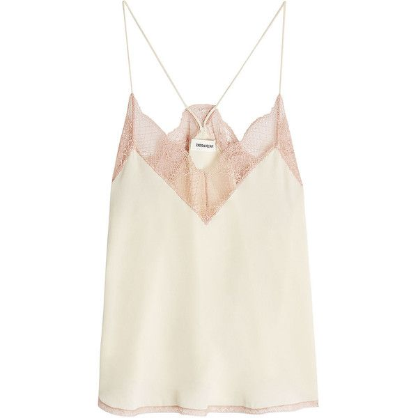 Zadig & Voltaire Lace Trim Silk Cami Top found on Polyvore featuring tops, camisoles, zadig & voltaire, white, cami tank tops, lace trim cami, white tank, white camisole and spaghetti strap tank tops