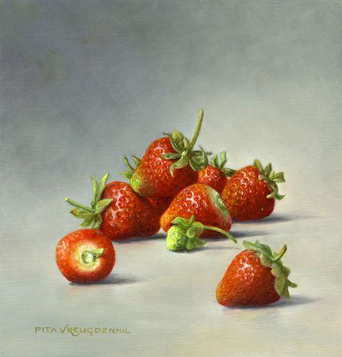 Stillleben mit Erdbeeren, 13 x 12,5 cm, Öl auf Holz. Verkauft