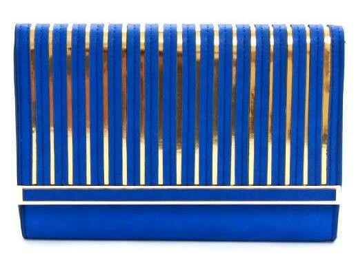 Clutch azul rey franjas doradas