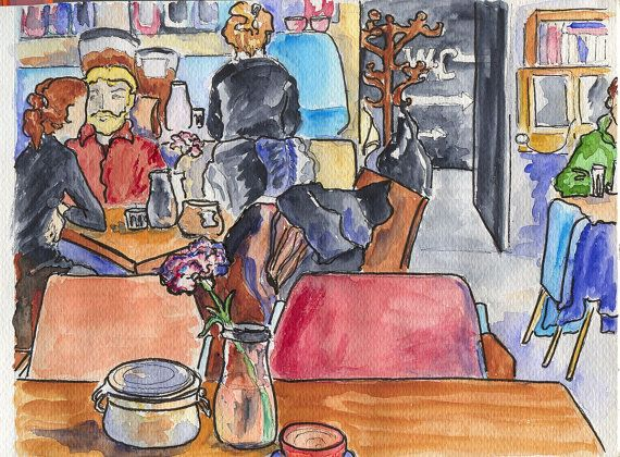 Original watercolour painting of one of the Prague cafes Café Neustadt, done on the spot.  Size: A5 14.8 x 21 cm (5.7/8 x 8.1/8 in). Painted on Canson