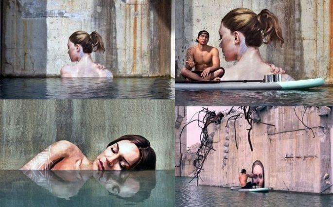 Sean Yoro's stunning paintings and the artist himself http://restreet.altervista.org/sean-yoro-dipinge-sugli-argini-dei-fiumi/