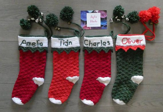 Personalised Crochet Christmas Stocking Christmas Decor