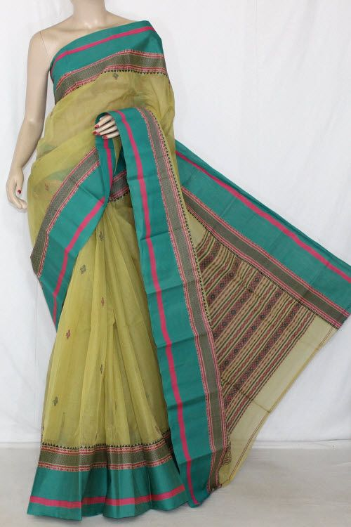 Light Menhdi Green Handwoven Bengali Tant Cotton Saree (With Blouse) 14220