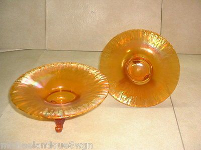 RARE-Vintage-Czech-Iridescent-Stretch-Glass-Footed-Candle-Bowls-Signed