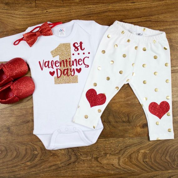 My First Valentines Day Outfit |  My 1st Valentines Day Onesie W/ off white gold dot Leggings outfit | Baby Girls Valentine's Day Outfit