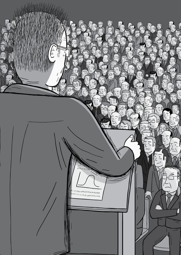 View over shoulder of man at lectern giving a speech to a large crowd. The man with glasses grips the lectern as he speaks to the sea of faces. Rear view of lectern and audience, showing his paper notes. Image from Stuart McMillen's comic Peak Oil (2015), from the book Thermoeconomics (2016).