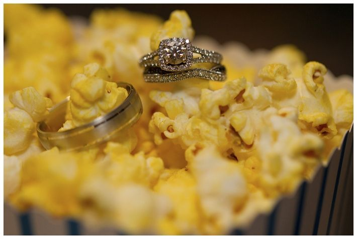 Edmonton Wedding Photographer / Ring Shot http://simplysusieq.com/ #popcorn #ringshot #movietheme #wedding #smokylake