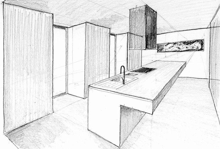 Boceto de isla con cocina a lápiz | Chiralt arquitectos Valencia