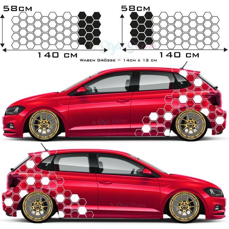 Car Sticker Side Sticker Hexagon Motif Car Tattoo Decor New Set Of 2 S64 Autocollant Voiture Habillages De Véhicules Autocollant
