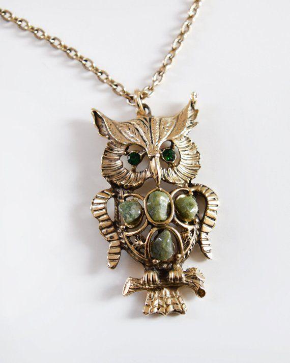 70s Necklace Gold Green Rhinestone