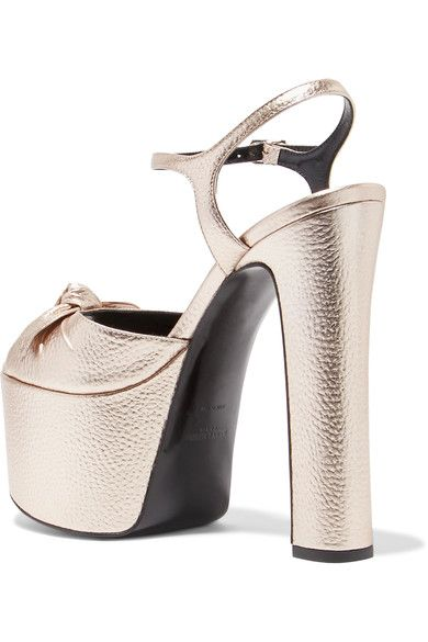 4e0523a63554e Saint Laurent - Bow-embellished Metallic Textured-leather Platform Sandals  - Platinum - IT35.5