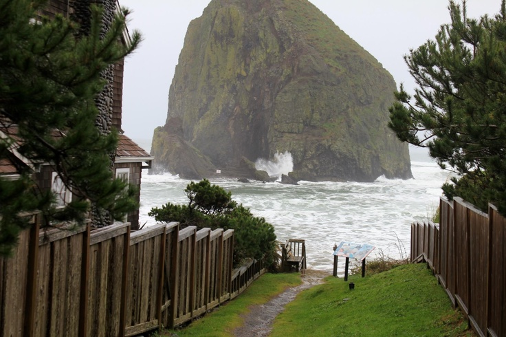 Haystack Rock Cannon Beach at high tide. | Down by the Sea ...