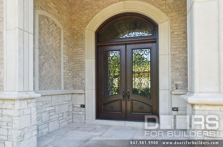 Custom Wrought Iron Front Doors | Custom Wood Front Entry Doors. Custom Solid Mahogany Wood Double Door ...