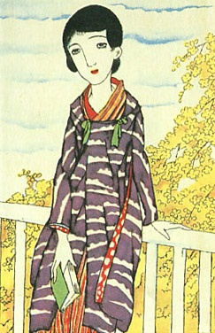 Japan antique art. illustrator / Yumeji Takehisa.   kimono beauty lady. last years of the taisyou period.